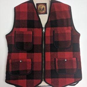 Woolrich Lumberjack Wool Vest Zip Up Sherpa Lined